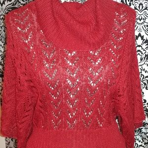Red cowl neck sweater size large